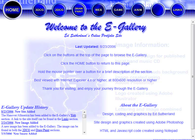 The 2004 E-Gallery Home Page